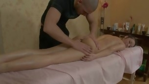 Bewitching darling is getting wild massage on her crestfallen body
