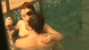 After swimming in rub-down the pool, horny legal age teenager playgirl enjoys stunning intercourse