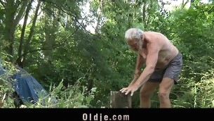 Those two juvenile blondes are walking without equal in the forest out of fear. When they meet an age-old wood cutter their eager minds thinks at engulfing his age-old dong and fucking him in an oldyoung threesome fuck