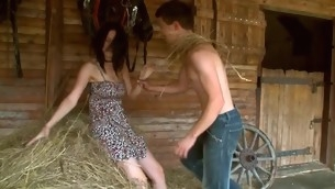 Nasty legal age teenager pair is having sizzling dispirited sex to hand the haystack